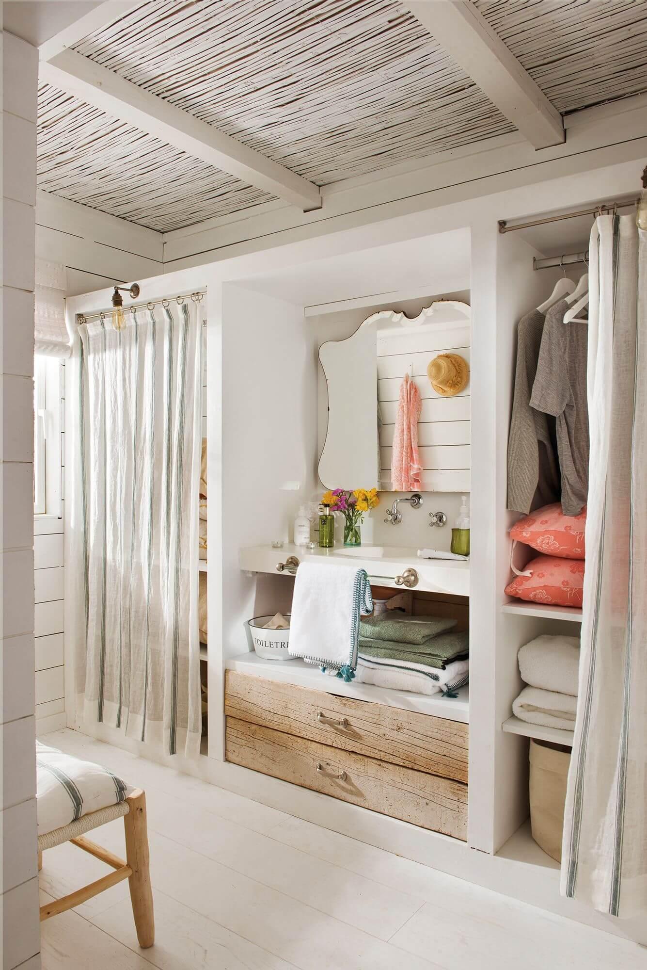 vestidor con cortina